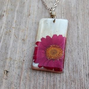 Red Daisy Pressed Flower on Shell *April* Necklace